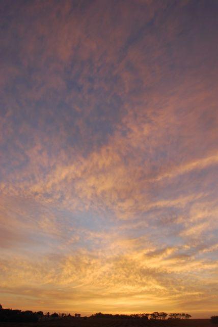 Un amanecer precioso, lleno de luz y armonia, el sol con un redondo casi perfecto.