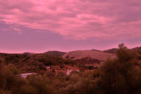 en el intervalo de las nubes aún conmovidas por la despedida del sol.