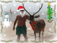 papa noel en la playa