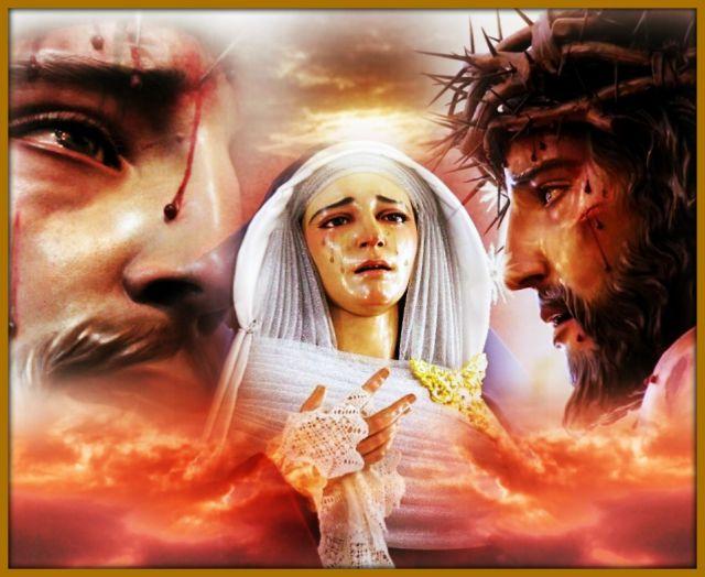 Padre Jesus del Amor Despojado de sus vestiduras y María Santisima de la Concepción.