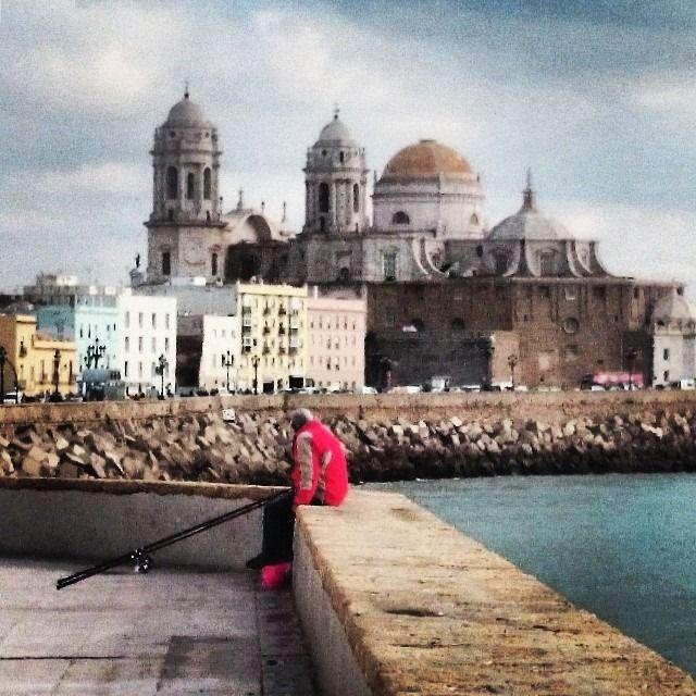 Pescando absorto en Cádiz.